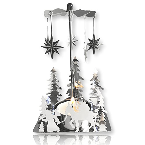 Nativity Candle Spinner – Laser Cut Plated Silver Tea Light Holder with a Nativity Scene a ...