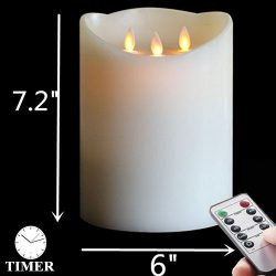 "NONNO&ZGF 6″ x H7.2"" Battery Operated 3-Wicks Large Decorative Candle,3D Dancing ..."