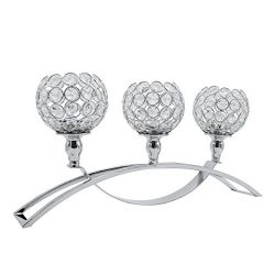 Joynest Crystal Candle Holders with 3 Arms, Wedding Coffee Table Decorative Centerpiece Candelab ...