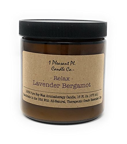 1 Pleasant Pl. Candle Co. Lavender Bergamot Aromatherapy Candle, 16 fl oz, Handmade in the USA w ...