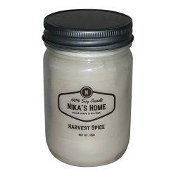 Nika's Home Harvest Spice Soy Candle – 12oz Mason Jar