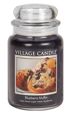Village Candle Blueberry Muffin 26 oz Glass Jar Scented Candle, Large