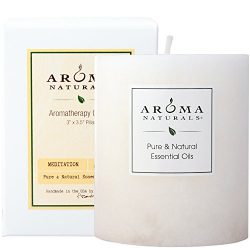 Aroma Naturals Patchouli and Frankincense Essential Oil White Scented Pillar Candle, Meditation, ...