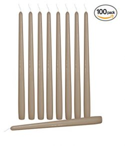Ner Mitzvah 100 Pack Tall Taper Candles – 12 Inch Taupe Dripless, Unscented Dinner Candle  ...