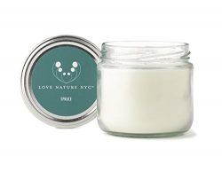 LOVE NATURE NYC Natural Soy Candle Jar, Spruce Scented, 60 Hours, Clean Burning Non-Toxic, Fragr ...