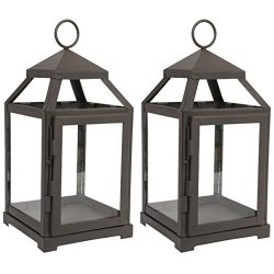 Hosley Set of 2-12″ High Clear Glass & Iron, Classic Style Lantern. Ideal Gift for Wed ...