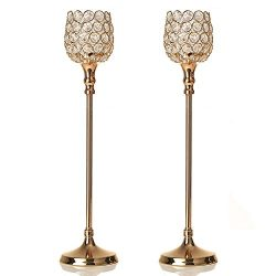 VINCIGANT Gold Crystal Candle Holder Set of 2 for Wedding Holiday Father's Day Home Decor/ ...