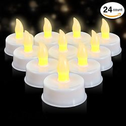 LED Flameless Tealights – Pack of 24 White Faux Tea Light Candles with Realistic Flicker & ...