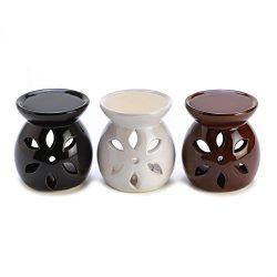 3 mini ceramic Wax tart Oil warmer Burner candle holder diffuser aromatherapy