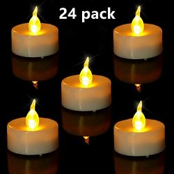 Tea Light. Flameless LED Tea Lights Candles (24 Pack), Flickering Warm Yellow. Battery-powered T ...