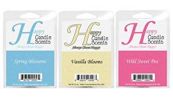 HCS Floral Themed 3-Pack of Highly Scented 2.5 oz Wax Melts Spring Blossoms, Vanilla Blooms and  ...
