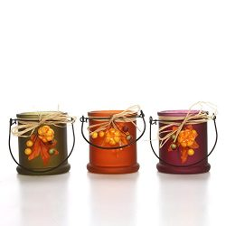Hosley Set of 3 Assorted Fall Leaf Glass Tealight Holder- 3.93″ High. Ideal Gift for Weddi ...
