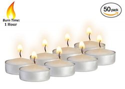 Mini Tea Light Candles – 50 Bulk Pack – White Unscented Travel, Centerpiece, Decorat ...