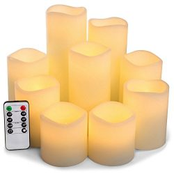 RY King Set of 9 Large Pillar Real Wax Flameless LED Battery Operated Flickering Electric Candle ...