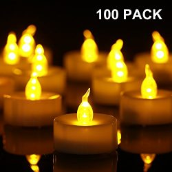Homemory 100PCS Battery Operated Flickering Flameless Tealight Led Candles, Long Lasting Battery ...