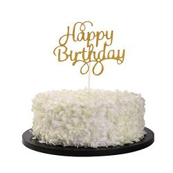 Sunny ZX Gold Glitter Happy Birthday Cake Cupcake Smash Candle Alternative Party Handmade