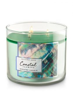 Bath and Body Works White Barn Coastal Jasmine 14.5 Ounce 3 Wick Candle 2017