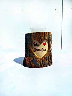 Customized Mother's Day Gift for Mom or Grandma – Personalized Carved Heart Log Cand ...