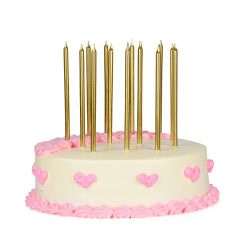 SkyQor Birthday Candles Gold metallic long and thin – festive wedding birthday party cake  ...