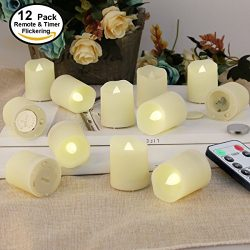Flameless Candles LED Remote Tealights – Votive LED Tea Light with Timer- Realistic Flicke ...