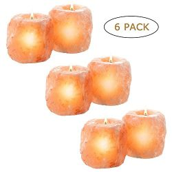 Maymii.Home 6 Pack Large (Approx 2.5lb each) Natural Himalayan Salt Candle Holder Holders, Hand  ...