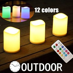 Outdoor Flameless Pillar Candles Decorative ,3 x 4″Battery Operated Weatherproof Candles w ...