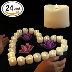 Flameless Candles,Battery Operated LED Tea Lights In Warm White Flickering Votive Candle for Wed ...