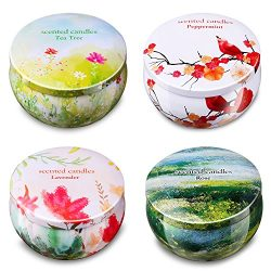 Ahyiyou Scented Candles Gift Set – Lavender, Rose, Tea Tree and Peppermint, Portable Trave ...