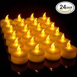 JUNPEI Battery LED Tea Lights, Pack of 24, Flameless tea lightTealight Candle with Warm yellow F ...
