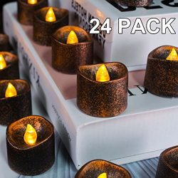 Beichi 24 PCS Black Flameless LED Tea Lights, Small Battery Tealight Candles for Festival Decora ...