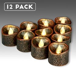 Homemory 12 Pack LED Flameless Black Tea Lights, Vintage Battery Operated Flickering Tealights C ...