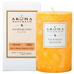 Aroma Naturals Essential Oil Lavender & Tangerine Scented Pillar Candle, Relaxing, 2.5 inch  ...