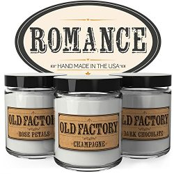 Old Factory Scented Candles – Romance – Set of 3: Rose Petals, Champagne, and Dark C ...