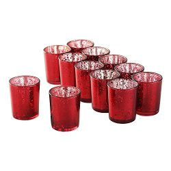 Supreme Lights Mercury Votive Candle Holders, Speckled Glass Tealight Holder, 2.45-inch Tall(Set ...