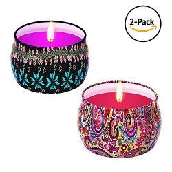 Wonsain Scented Candles Gift Set – Rose, Lavender, Portable Travel Tin Candles 100% Natura ...