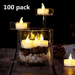 AGPtek® 100 Lot LED Battery-Operated Warm White Flameless Flickering Electronic Tealight Candle  ...