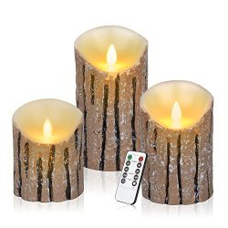 Antizer Flameless Candles 3 Pack Set Dripless Real Wax Pillars Include Realistic Dancing LED Fla ...