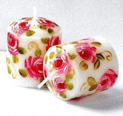 Hand Painted Pink Rose Decorated White Votive Candles Set