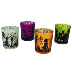 Mercury Glass Halloween Votive Candle Holder Set of 4
