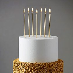 24 Count Party Long Thin Cake Candles Metallic Birthday Candles in Holders for Birthday Cakes Cu ...