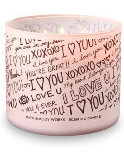 "Bath & Body Works 3-Wick I Love You Candle in ""HONEYSUCKLE BOUQUET"""