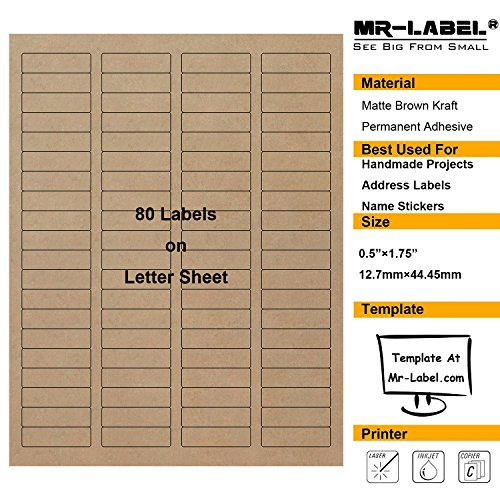 "Mr-Label 1/2""×1-3/4"" Printable Natural Kraft Brown Label Sticker – For Mason Jars 