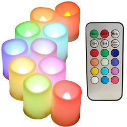 Multi Color changing LED Flameless votive Candles with Timer and Remote,100+H long Battery life, ...