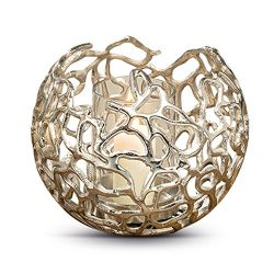 Whole House Worlds The Crosby Street Silver Glimmer Globe, Artisan Molded Modern Lace Pattern, H ...