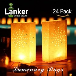 24 Pack Luminary Bags – Sunburst Design Candle Bags – Flame Resistant Light Holder & ...