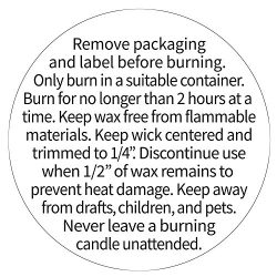 Candle Warning Stickers for Candle Jars, Tins and Votives, Black and White Text, 1.5″ Roun ...
