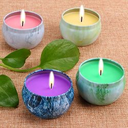LOHOTEK Scented Candles Peach, Mango, Grapefruit & Bergamot Scented Candles, Set 4 100% Soy  ...