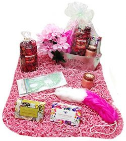 Aromatics & Bath Mothers Day Gift Basket Planter – Potpourri, Candle, Soaps, Eye Mask, ...