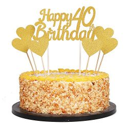 QIYNAO Gold Glittery Happy Birthday Cake Toppers and love star Cake Smash Birthday Party Decorat ...