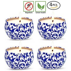 YCYH Citronella Mosquito Repellent Candles Set 4 Soy Wax Travel Tin 2.5oz, Natural Mosquito Repe ...
